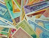 close-up of foreign currencies