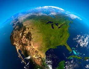 North America US from space