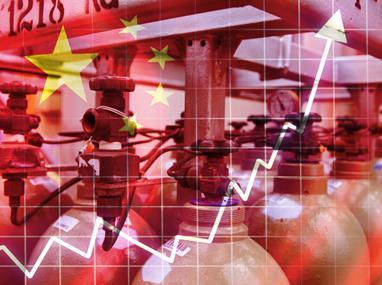Cylinders china flag and currency
